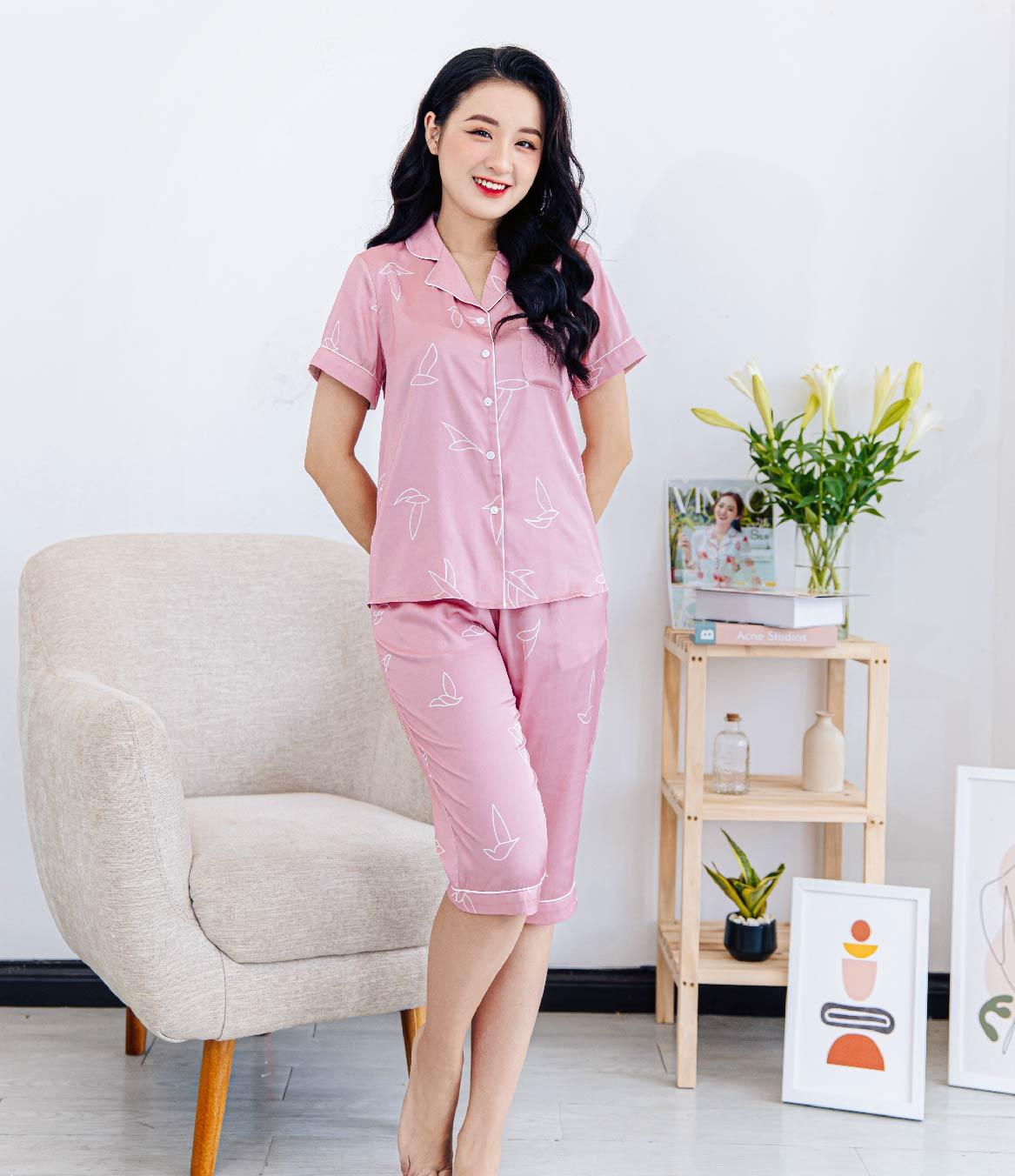 Bộ pijama lụa cao cấp hồng phấn H344 Vingo