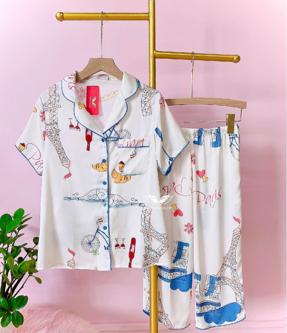Bộ pijama lụa lửng cao cấp h361 Vingo