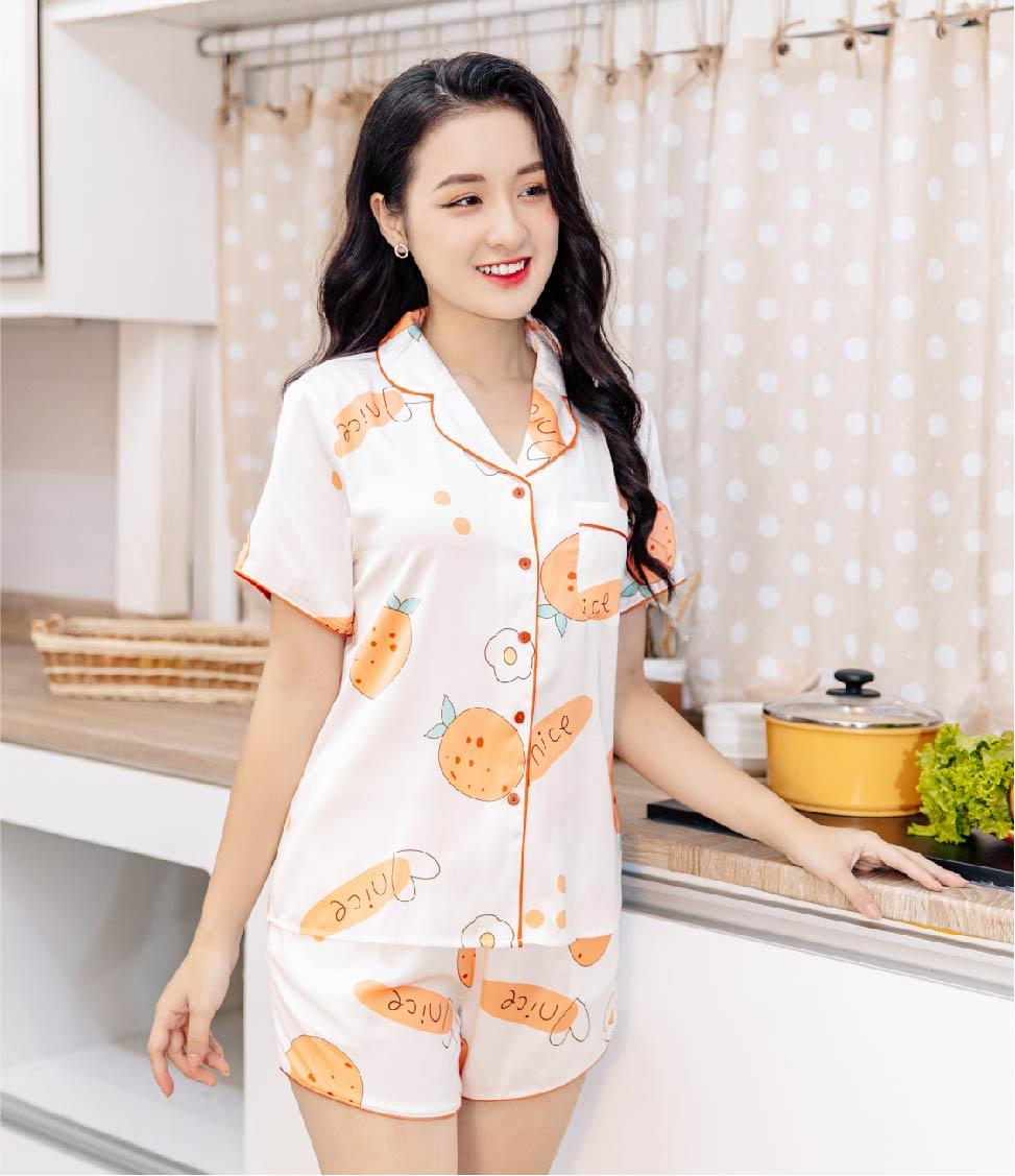 Bộ pijama lụa ngắn tay quần cộc H348 Vingo