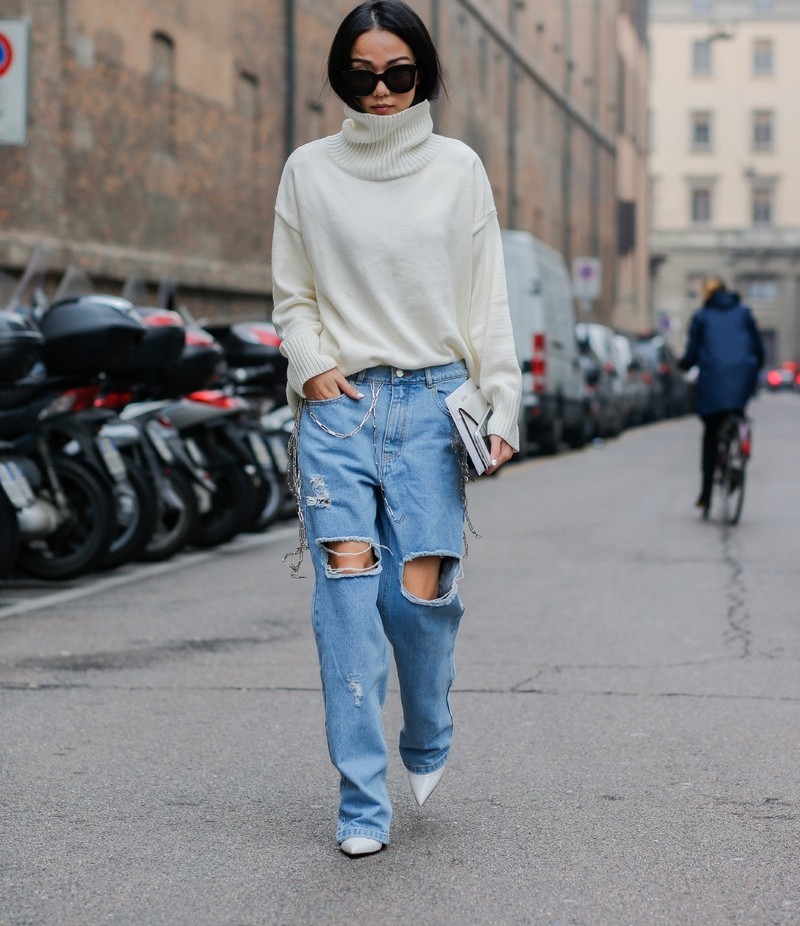 áo cổ lọ len trendy xuống phố