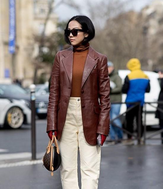áo khoác da trở thành xu hướng thu đông 2019