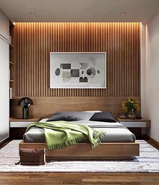 Những món nội thất chất liệu gỗ trong phòng ngủ tạo bầu không khí ấm cúng.