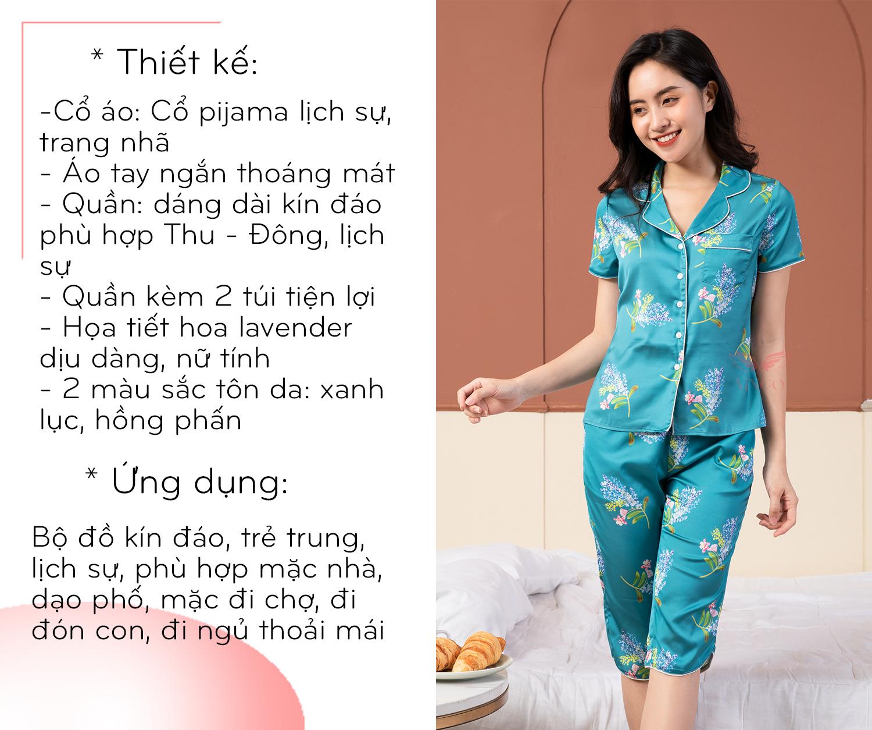 Thiết kế bộ pijama lụa tay ngắn quần lửng