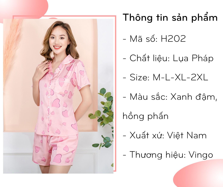 Bộ đồ mặc nhà nữ pijama cộc trái tim H202