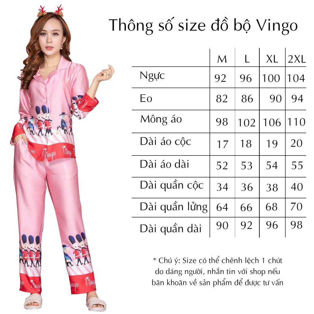Thông số size đồ bộ Vingo