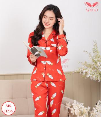 pijama lụa cao cấp mặc nhà họa tiết cà rốt màu đỏ