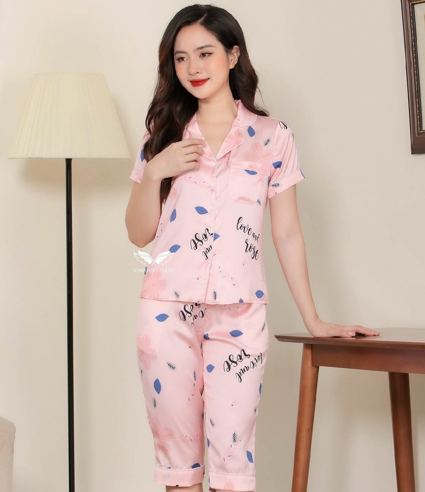 Bộ pijama lụa lửng cao cấp H322 Vingo
