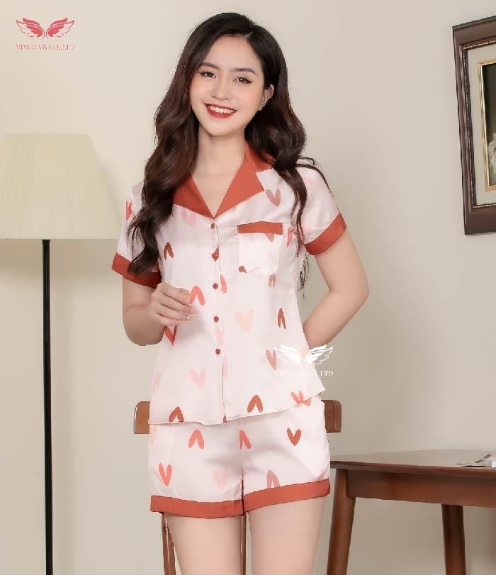 pijama cộc H353 đẹp hồng phấn cổ hồng đậm