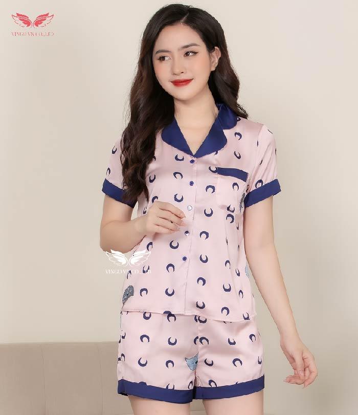 pijama cộc H356 hồng cổ viền tím
