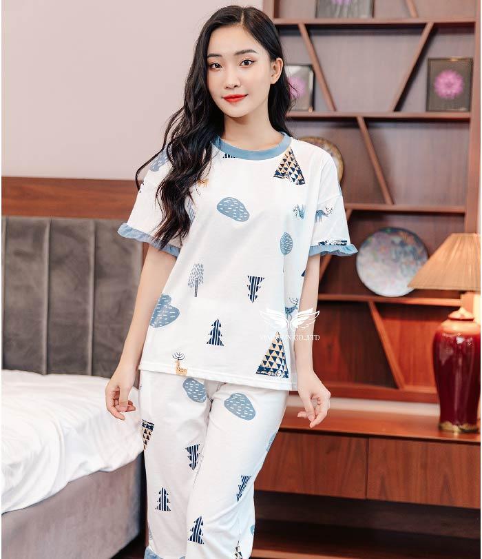 Bộ đồ mặc nhà cotton C020 tay bèo