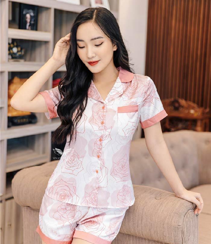 bộ pijama lụa ngắn cao cấp h387