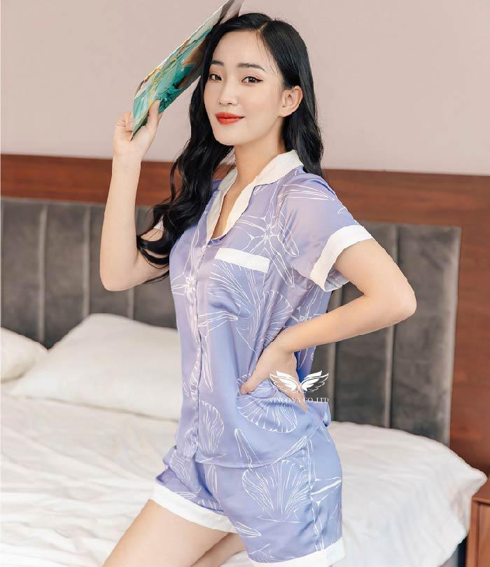 pijama lụa H366 ngắn