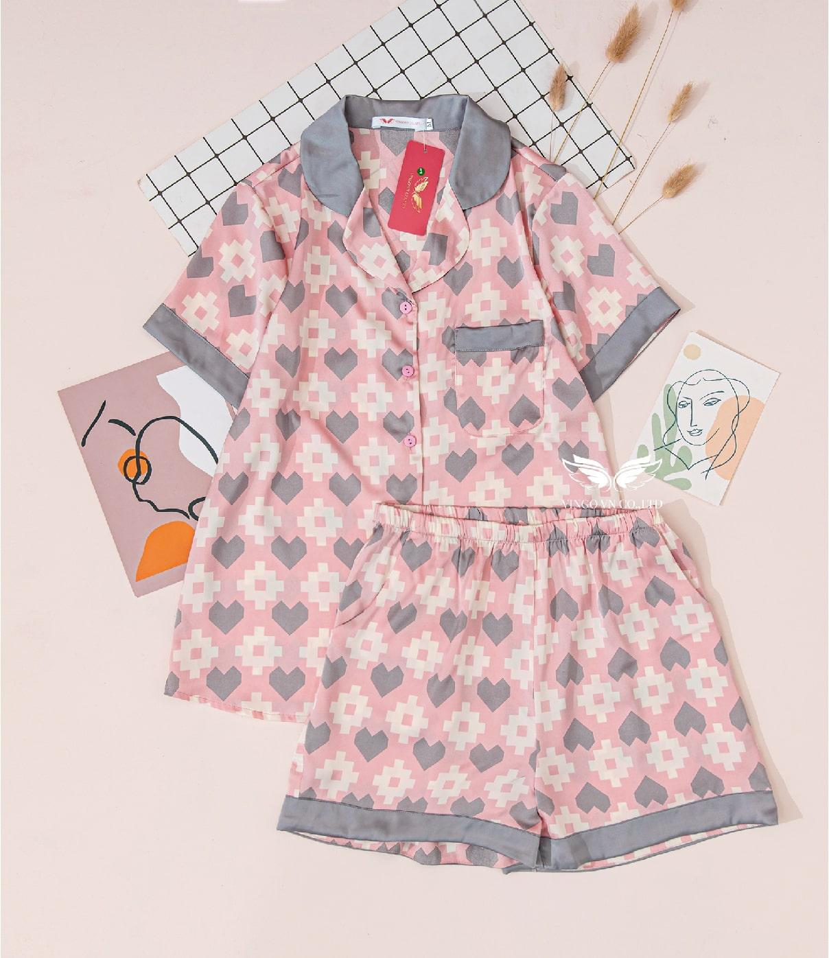 Bộ pijama lụa gấm h414