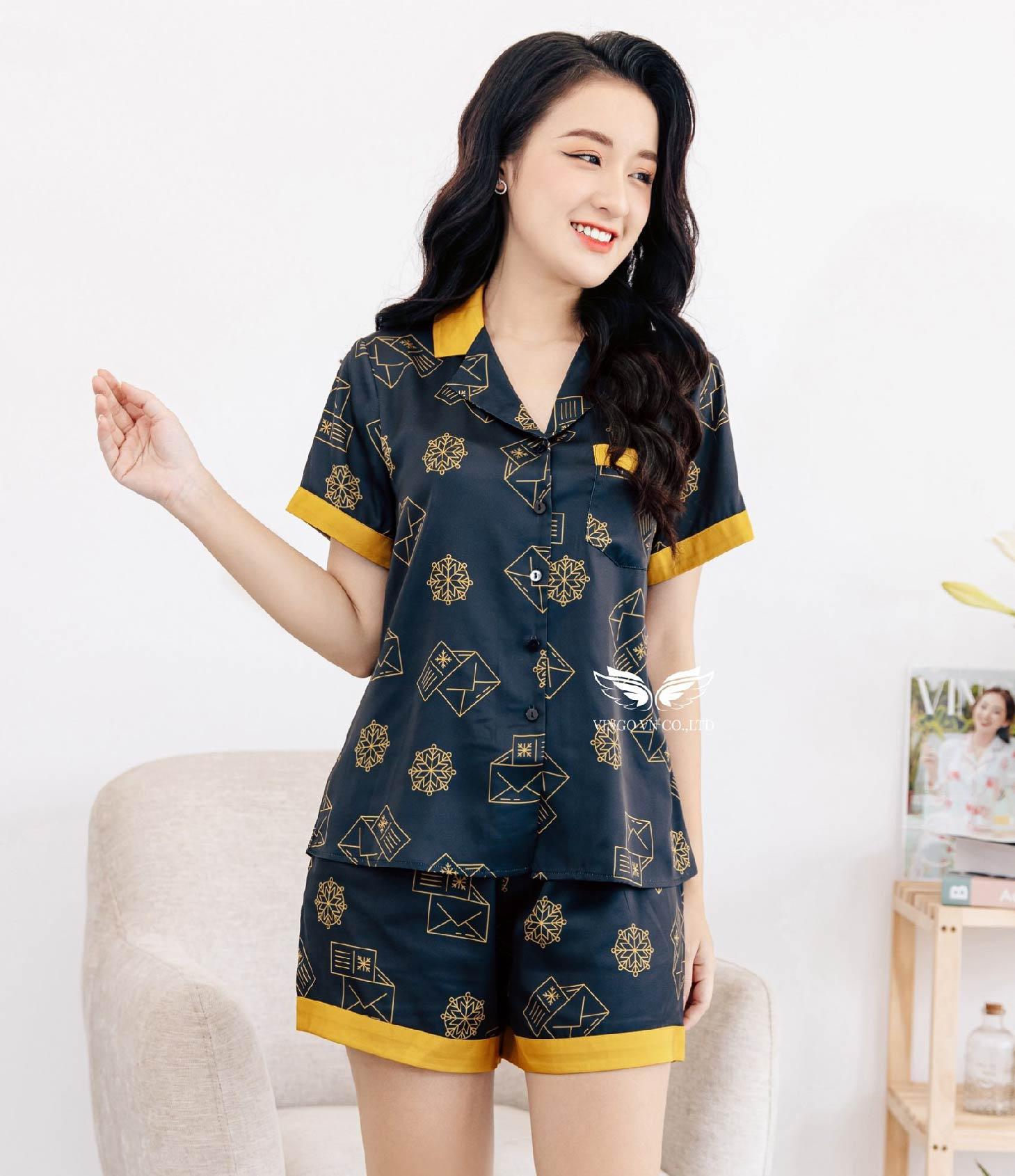 Bộ pijama lụa cao cấp h413 Vingo
